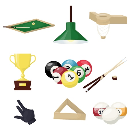 Billiards equipment hobby sport entertainment gamble player tools vector illustration. Snooker pool ball circle table. Snooker sport pool game cue competition elements.
