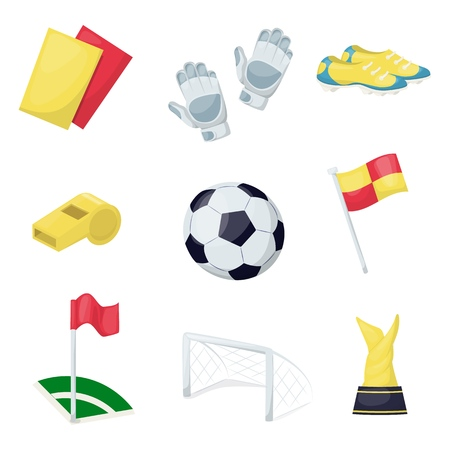 Football sport equipment soccer ball hobby training vector illustration. Playing sportswear professional tools. Running footwear card flag, award, sneakers. Stockfoto - 124996528
