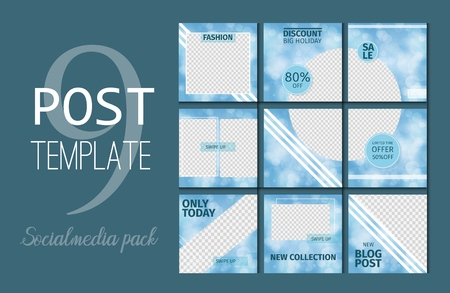 Social media template kit booster. Endless post template vector illustration. Marketing advertising benner with place for photo. Blogger promotion branding app offer mockup card.