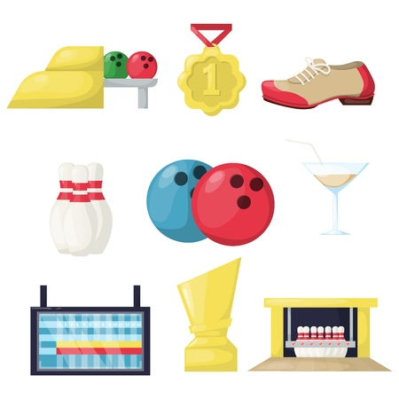 Bowling leisure hobby activity equipmen vector illustration. Family indoor game sport fun target skittle alley. Party team tournament success strike happy pins. Illustration