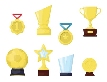 Golden trophy cup first place championship prize vector illustration. Fashion gold medal entertainment celebrity. Win game best reward. Victory trophy prize award cup.