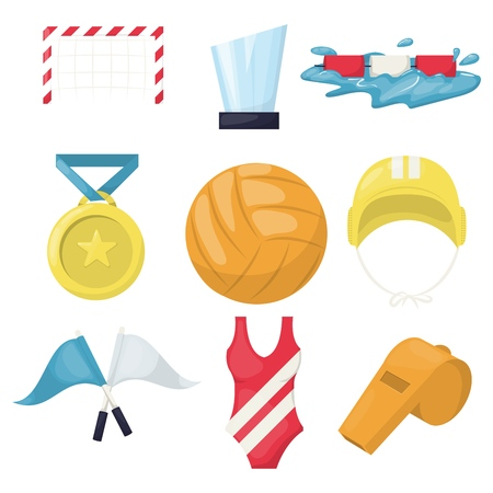 Volleyball water sport player accessories beachball icons vector illustration. Healthy volley ball training pool. Water polo club beachvolleyball. Serve game team play volleying.
