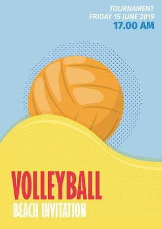 Illustration vectorielle d'affiche de sport de volley-ball de plage. Invitation de compétition d'équipe de beach volley de jeu d'été.