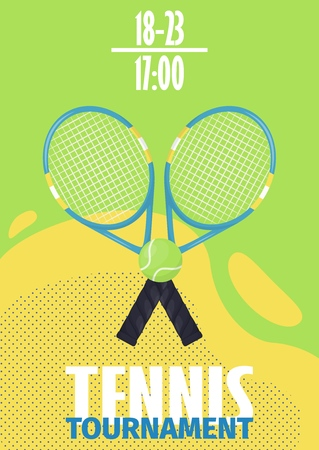 Tennis tournament poster with tennis ball shield flyer template vector illustration design. Sport championship tennis ball racket equipment template. Competitive match winner challenge. Ilustração