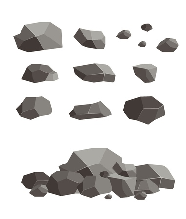 Rock stone block blank broken cement cobblestone vector illustration. Geology granite lava material natural sandstone volcanic mountain group.