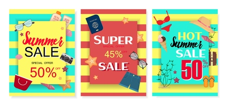 Summer sale banner with glasses clothing special promotion background shopping banner, flyer, invitation, poster, web site or greeting card vector illustration. Ilustração