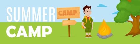 Summer kids camp banner vector illustration. Fun children vacation poster. Kindergarten tourist camping scout adventure. Happy holiday tourism lifestyle nature education card.