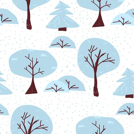 Winter tree seamless pattern. Christmas forest vector illustration. Scandinavian foggy background. Creative woodland wrapping. Stock Illustratie