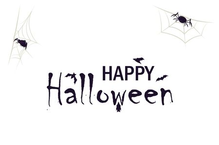Happy halloween text banner with scary spider lettering. Horror web symbol vector illustration. Bat and spiderweb concept. Ilustrace