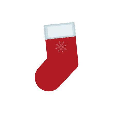Christmas socks santa stocking secret traditional holiday decoration claus surprise vector illustration.