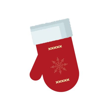 Christmas beautiful cartoon mittens Santa with snowflake pattern vector illustration on white background.
