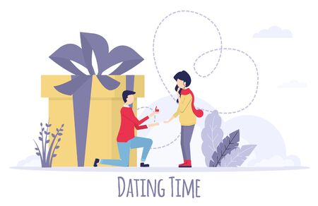Dating young couple happy in love taking proposal of marriage. Two people in love will dream. Vector characters. Gift to loved one couple. Romantic dating for Valentines Day celebration.