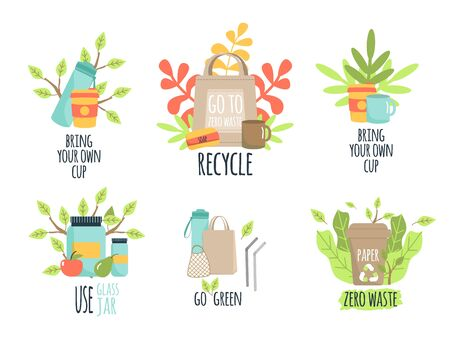Zero waste recycle ecology protection vector illustration. Go green, eco style, no plastic, save the planet. Durable and reusable items or products - glass jars, eco grocery bags, thermo mug.