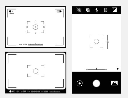 Video Camera Viewfinder Display. Vector Template digital video picture preview.