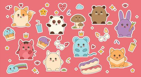 Kawaii animals patch face vector. Anime sticker with doodle art. Collection of cute cats emotions in kawaii style. Fox bear rabbit cat little mouse and panda face avatar. Facical emoji japanese style.