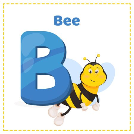 Alphabet printable flashcards vector with letter B. Bee cartoon cute honeybee insect vector illustration isolated yellow animal beekeeping, buzz character. Bumblebee sweet flying pollen character.