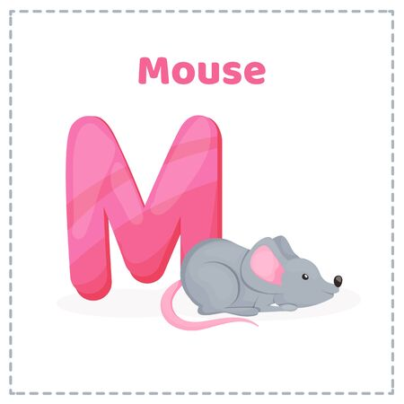Alphabet printable flashcards vector with letter M.