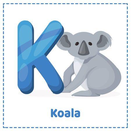Alphabet printable flashcards vector with letter K Cute zebra coala face. Childish print for nursery, kids apparel,poster, postcard. Vector Illustration Vettoriali