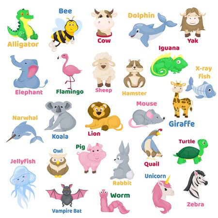 Zoo alphabet animal letters cartoon cute characters isolated different educational vector english abs kid letter illustration. Learn typography teach card education preschool language. Stock Illustratie