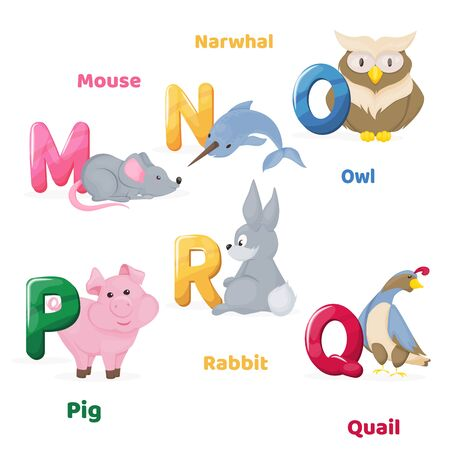 Alphabet printable flashcard vector with letter M N O P Q R. Zoo animals for english language education. Kindergarten abc poster cards with alphabet letters for preschool kids homeschooling.