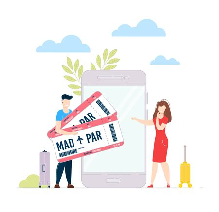 People Booking Plane Tickets Online Using Smartphone.