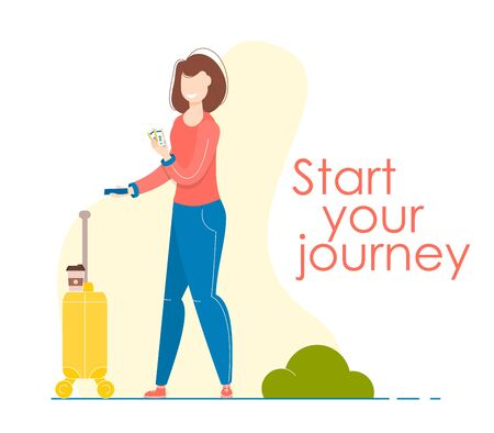 Traveler woman with bag. Concept of travel. Happy girl with yellow suitcase and passport start journey. Passenger luggage. Young female with handbag. Vector illustration. Tourist character.