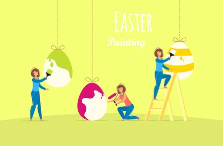 Painting Easter Eggs concept. Women paint traditional spring holiday symbol. Easter egg. Vector illustration girl with paintbrush drawing.