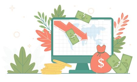 Cost Reduction financial economy crisis concept. Finance business fall. Money bag, dollar crash, coin stack. Rate loss recession budget vector illustration. Computer reduce graphic.