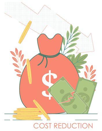 Money bag, dollar crash, coin stack. Cost Reduction financial economy crisis concept.
