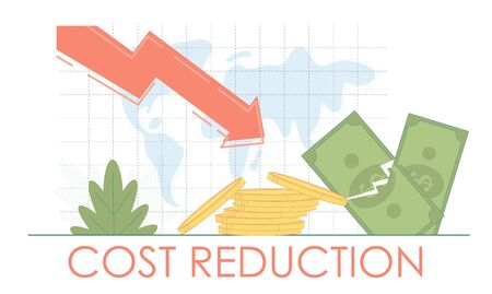 Cost Reduction financial economy crisis concept. Finance business fall.