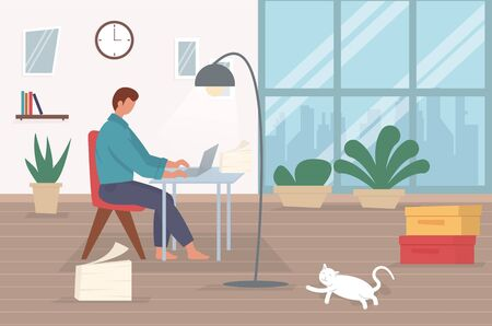 Freelance character working at home, work from home, self employed, home office, work at home, freedom conceptual vector illustration. Vectores
