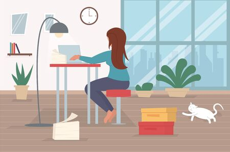 Freelance character working at home, work from home, self employed, home office, work at home, freedom conceptual vector illustration. Telework character. Online wireless business technology.