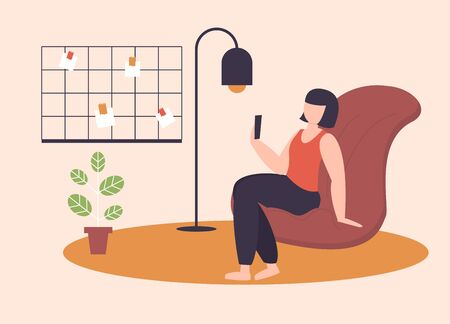 Freelance character working at home, work from home, self employed, home office, work at home, freedom conceptual vector illustration. Telework character loft workplace with mood board.