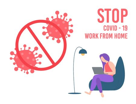 Stay home during the coronavirus epidemic. Staying at home in self quarantine, protection from virus. Coronavirus outbreak concept. Vector illustration. Creative comfort loft workplace with mood board Vectores
