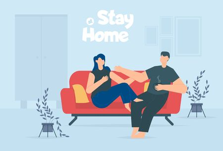 Stay home during the coronavirus epidemic. Staying at home in self quarantine, man and woman protection from virus. Coronavirus outbreak concept. Vector illustration. Couple in Creative comfort loft workplace. Illustration