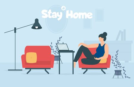 Stay home during coronavirus epidemic. Staying at home in self quarantine, protection from virus. Coronavirus outbreak concept. Vector illustration. Creative comfort loft workplace. Woman with laptop. Banque d'images - 143476547