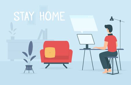 Stay home during coronavirus epidemic. Staying at home in self quarantine, protection from virus. Coronavirus outbreak concept. Vector illustration. Creative comfort loft workplace. Man with computer.
