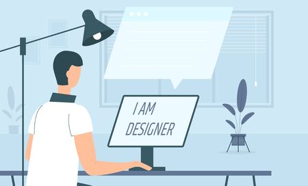 Freelance character working at home, work from home, self employed, home office, work at home, freedom conceptual vector illustration. Telework man character designer. Online wireless technology. Illustration