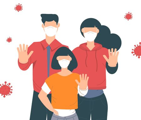 Stop coronavirus. Coronavirus outbreak vector illustratin. Family wearing face mask. Showing gesture stop. Pandemic medical concept. Human in respirator and protective clothing with hand up. Vettoriali