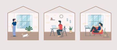 Stay home during coronavirus epidemic. Staying at home self quarantine, protection from virus. Coronavirus outbreak concept. Vector illustration. Creative comfort loft workplace. Man, woman, neighbors