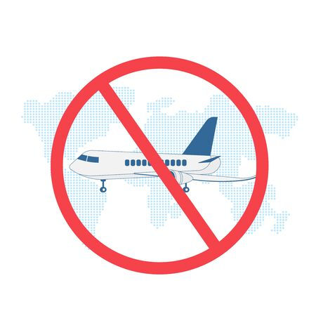 Stop travel motivation. Ban on airplane. Plane in prohibition sign. Stop cargo. Stay home during coronavirus epidemic. Staying at home in self quarantine, protection from virus. Vector illustration. Illustration