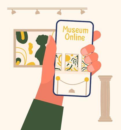 Museum exhibit online concept.