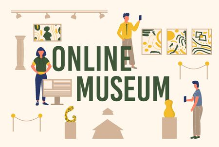 Museum online banner. Typography emblem with people, pictures composition.