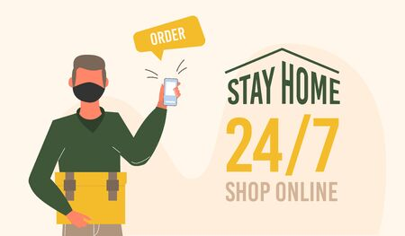 Stay home and shopping online with delivery man in mask. Coronavirus outbreak.