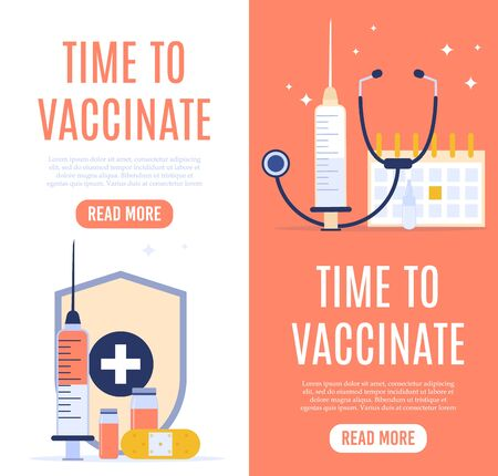 Vaccination concept banner with text place. Vector medical illustration.