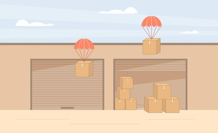 Drop shipping industry. Cargo containers stock storage. Illustration