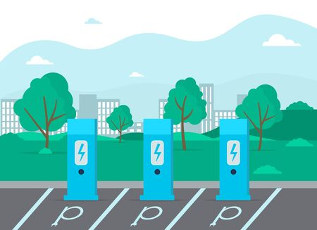 Charge charging point area, cable battery electric car station Illustration