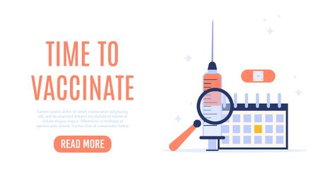 Vaccination concept landing page with text place. Vector medical illustration. Illustration