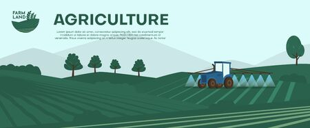 Agriculture farm banner. Tractor cultivating field at spring vector illustration. Combine harvester concept, watering farming tractor machinery. Rural agricultural landscape. Farmer work season.