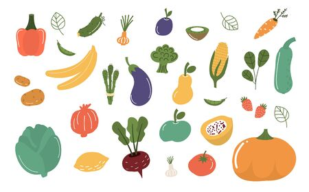 Fruits and vegetables isolated vector illustration. Illustration